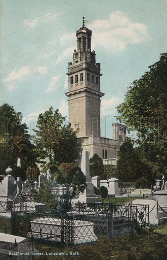 Beckford's Tower or Lansdown Tower, Bath, Somerset. Postcard, early 20th century.