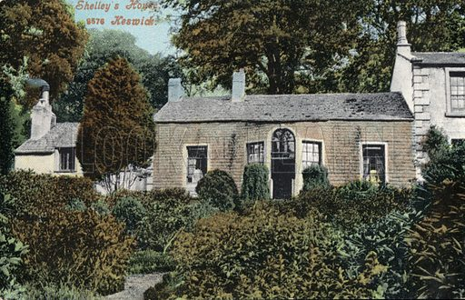 Home of English Romantic poet Percy Bysshe Shelley, Keswick, Cumbria. Postcard, early 20th century.