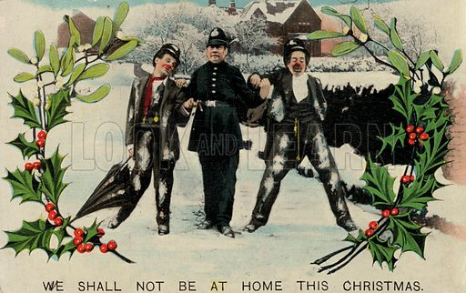 Two drunk men being arrested by a policeman, Christmas greetings card. Postcard, early 20th century.