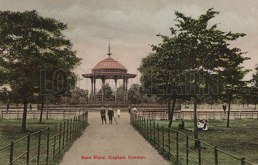 Band stand on Clapham Common, London. Postcard, early 20th century.