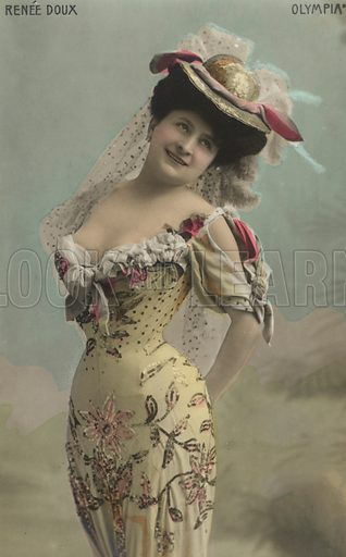Renee Doux, French actress and singer. Postcard, early 20th century.