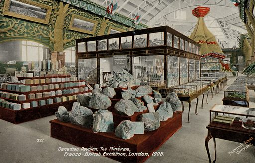 Minerals display in the Canadian Pavillion at the Franco-British exhibition of 1908, White City, London. Postcard, early 20th century.