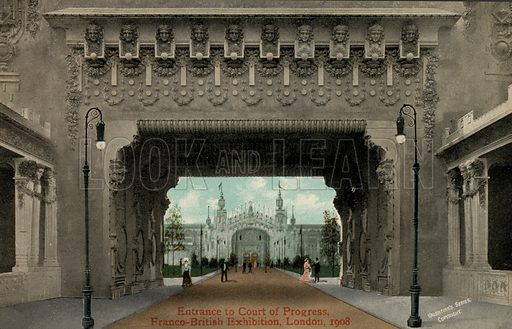 Entrance to the Court of Progress, Franco-British Exhibition, White City, London 1908. Postcard, early 20th century.