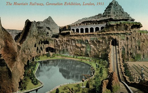 The Mountain Railway at the Coronation Exhibition celebrating the coronation of King George V and Queen Mary, London, 1911. Postcard, early 20th century.
