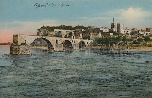 Pont Saint-Benezet, the bridge at Avignon, France. Postcard, early 20th century.
