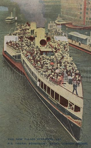 Royal Sovereign, one of the New Palace Steamers which operated boat trips between London and towns of the North Kent coast. Postcard, early 20th century.