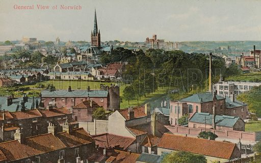 General view of Norwich, Norfolk. Postcard, early 20th century.