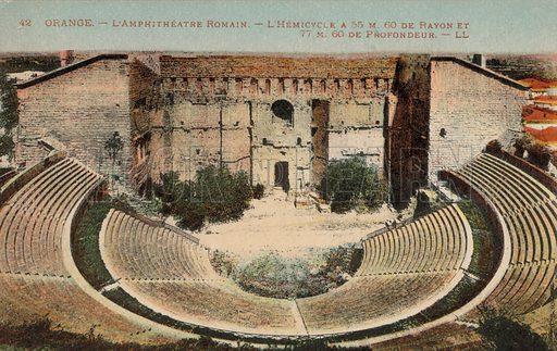 Roman amphitheatre, Orange, France. Postcard, early 20th century.