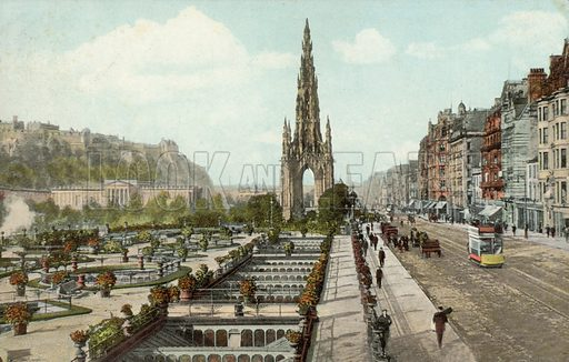 Scott Monument, Princes Street Gardens, Edinburgh, Scotland. Postcard, early 20th century.