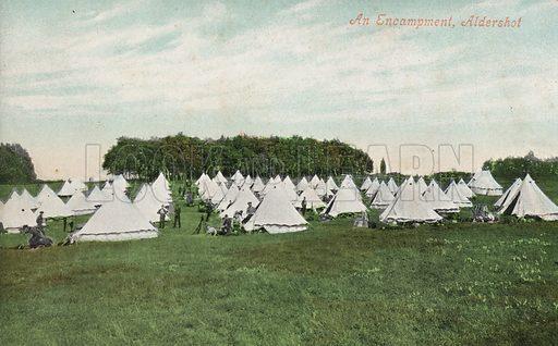 Military encampment, Aldershot, Hampshire. Postcard, early 20th century.