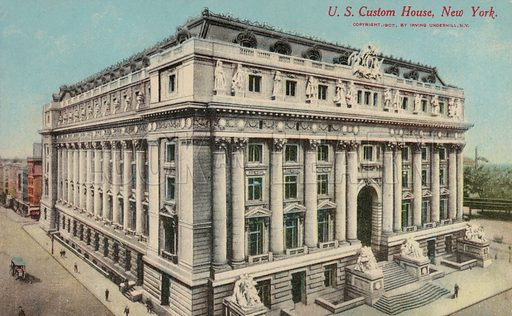 Alexander Hamilton US Custom House, New York City, New York, USA. Postcard, early 20th century.