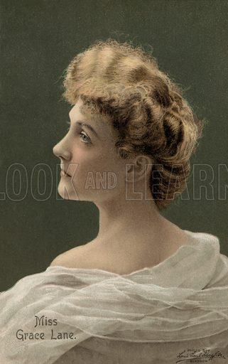 Grace Lane (1876-1956), English stage and film actress. Postcard, early 20th century.