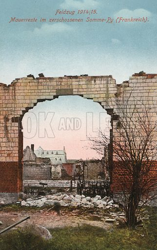 Wall damaged by fighting at Somme-Py, Marne, France, World War I, 1915. Postcard, early 20th century.