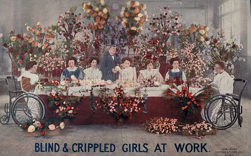 Disabled flower girls at work. Postcard, early 20th century.