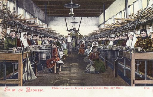 Workers in the spinning mill at a silk factory, Bursa, Turkey. Postcard,early 20th century.