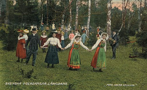 Men and women in traditional costume performing a folk dance, Sweden. Postcard, early 20th century.
