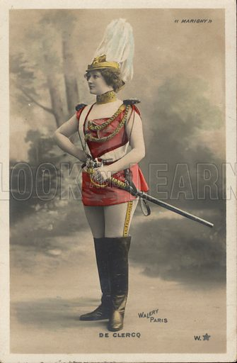 Performer from the Theatre Marigny, Paris, France. Postcard, early 20th century.