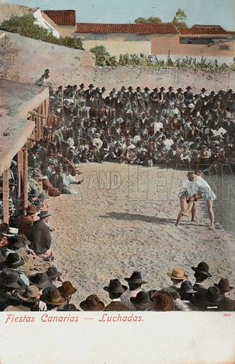 Wrestling during a festival in the Canary Islands. Postcard, early 20th century.
