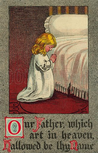 Child at bedtime reciting the Lord's Prayer. Postcard, early 20th century.