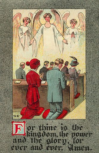 Congregation reciting the Lord's Prayer. Postcard, early 20th century.