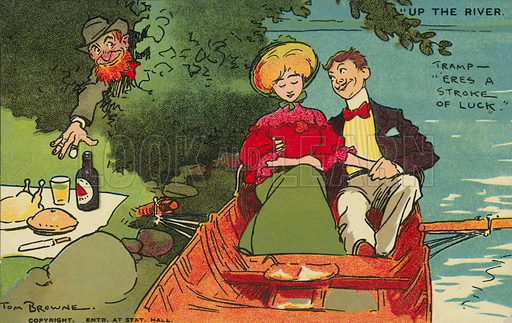 Couple on a boat ride unaware that a tramp is about to steal their picnic. Postcard, early 20th century.