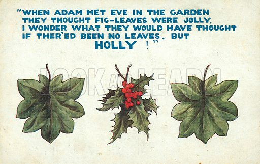 Fig leaves and holly leaves. Christmas message. Postcard, early 20th century.