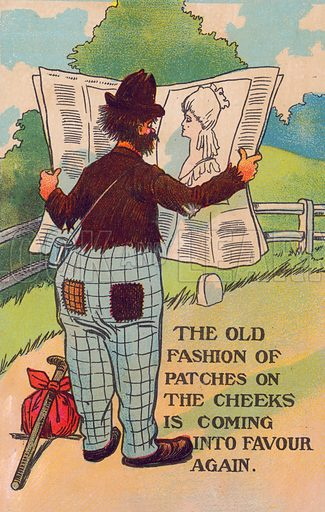 Mocking the fashion for wearing beauty patches on the cheeks. Postcard, early 20th century.