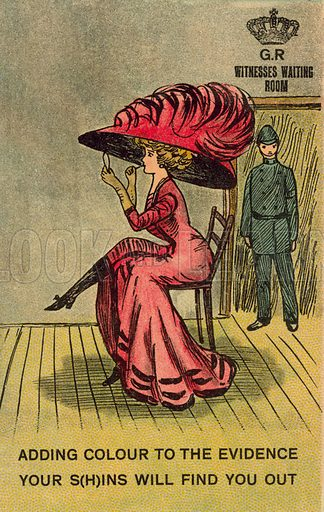 Cautionary warning to those giving evidence to be truthful. Postcard, early 20th century.
