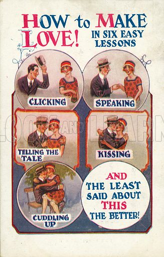 Six lessons on how to make love. Postcard, early 20th century.