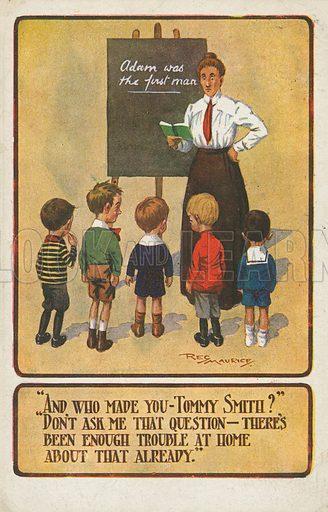 Schoolteacher teaching her pupils about Adam. Postcard, early 20th century.