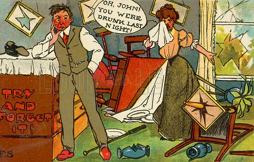 Couple after a drunken argument. Postcard, early 20th century.