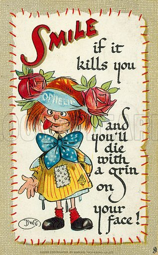 Cartoon girl and a joke about smiling. Postcard, early 20th century.