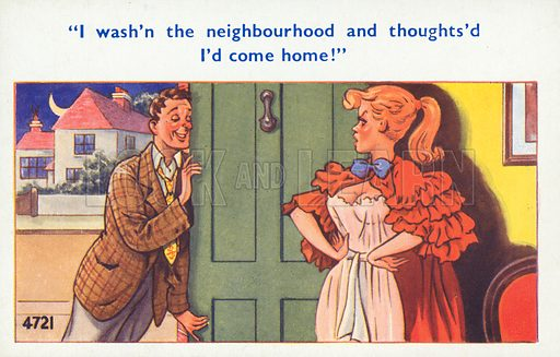 Drunk husband coming home to his wife late at night. Postcard, early 20th century.