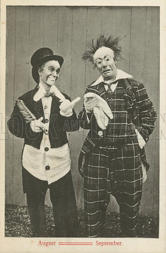 Two clowns, August and September. Postcard, early 20th century.