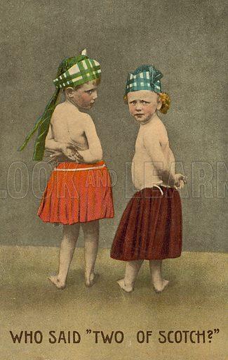 Two Scottish boys. Postcard, early 20th century.