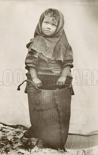 Girl with a sack, pun on losing one's job. Postcard, early 20th century.
