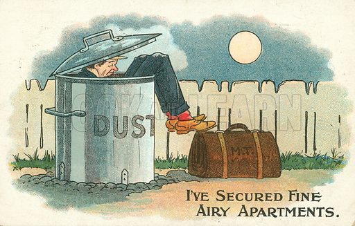 Homeless man sleeping in a dustbin. Postcard, early 20th century.