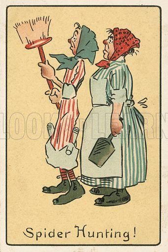 Two women hunting spiders. Postcard, early 20th century.