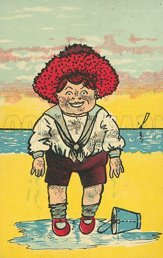 Boy with a bucket on the beach. Postcard, early 20th century.