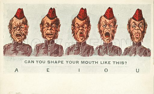 Man reciting the vowels of the alphabet. Postcard, early 20th century.
