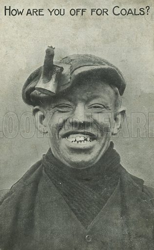 Smiling coal miner. Postcard, early 20th century.