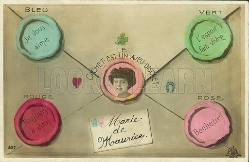 Letter with seals of different colours representing love, hope, fidelity and happiness. Postcard, early 20th century.