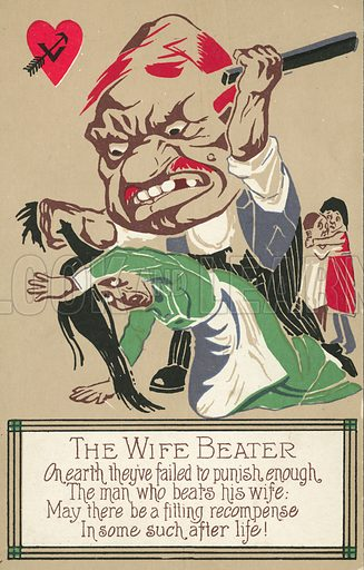 A cautionary warning for men who beat their wives. Postcard, early 20th century.