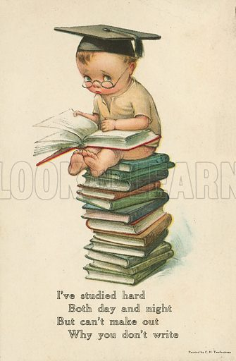 Young boy sitting on a pile of books, with a verse entreating the recipient to write to the sender. Postcard, early 20th century.