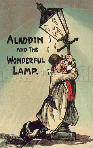 Drunk hanging onto a lamppost for support. Postcard, early 20th century.