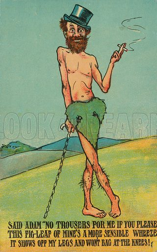 Adam extolling the virtues of wearing a fig leaf. Postcard, early 20th century.
