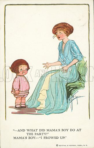 Mother asking her little boy what hed did at a party. Postcard, early 20th century.