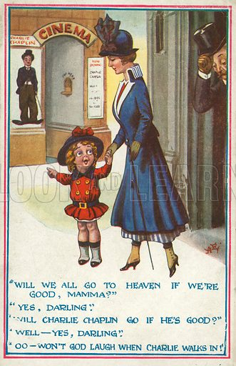 Young girl and her mother going to see a Charlie Chaplin film at the cinema. Postcard, early 20th century.