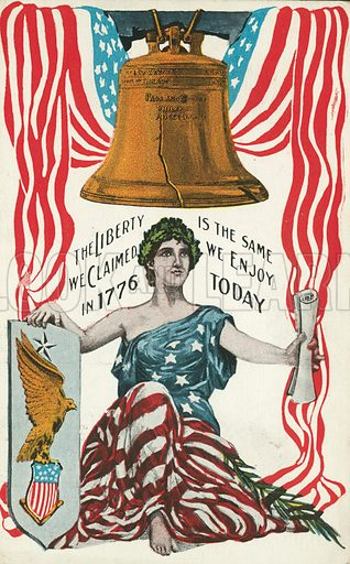 The Liberty Bell and other symbols of the freedoms of the United States. Postcard, early 20th century.