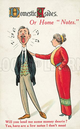 Woman asking her husband for money. Postcard, early 20th century.